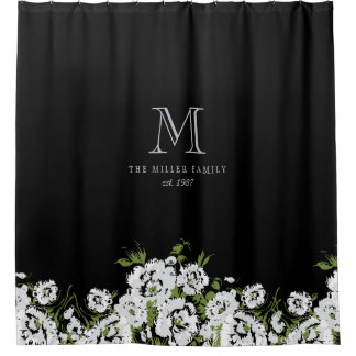 Black and White Floral Monogram Design Shower Curtain