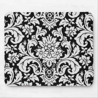 Black and White Floral Mouse Mat