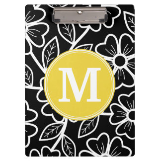 Black and White Floral Pattern Custom Monogram Clipboard