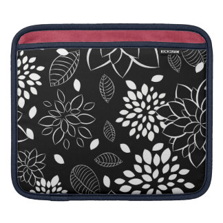 Black and White Floral Pattern iPad Sleeve
