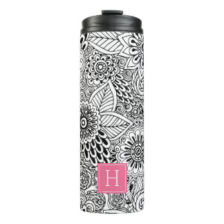 Black and White Floral Pattern Monogrammed Thermal Tumbler