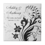 Black and White Floral Personalised Wedding Tile