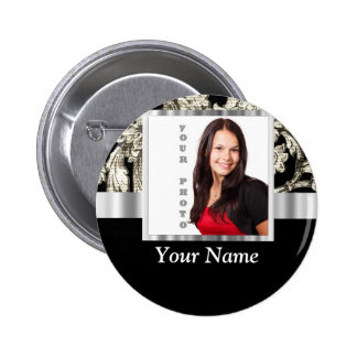 black and white floral photo template 6 cm round badge