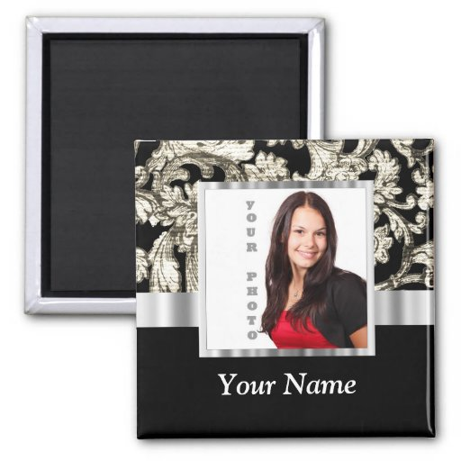 black and white floral photo template magnets