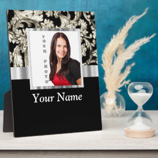 black and white floral photo template plaque