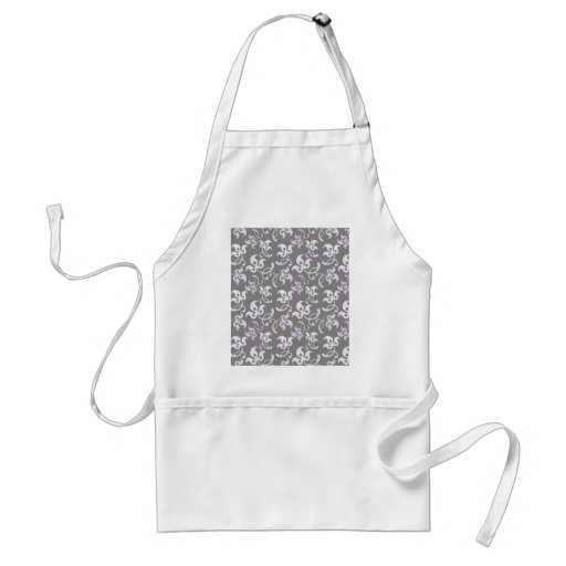 Black And White Floral Print Aprons