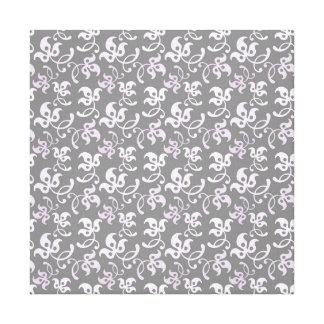 Black And White Floral Print Gallery Wrap Canvas
