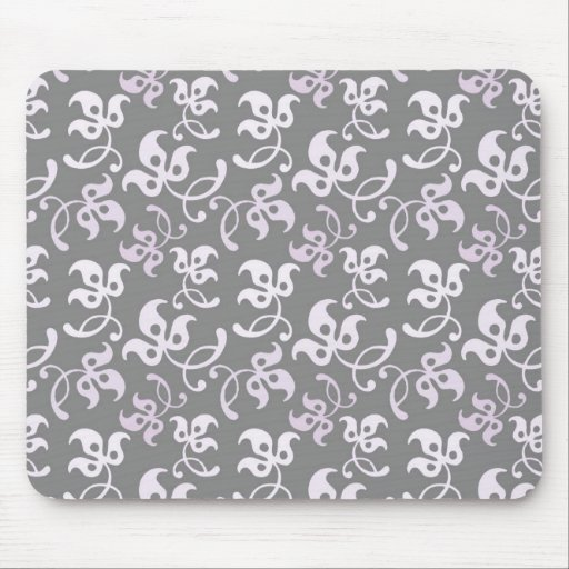 Black And White Floral Print Mousepad