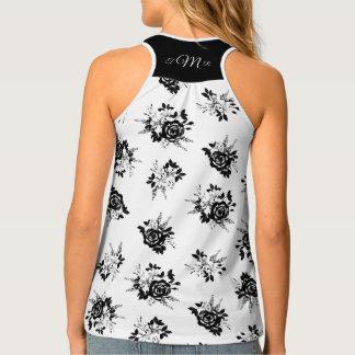 Black and White floral print w/ monogram back yoke Tank Top