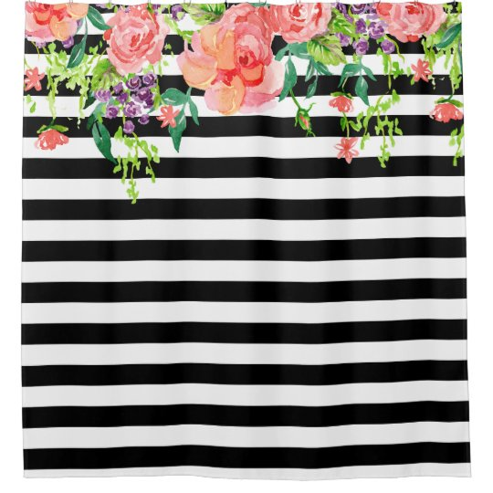 Black and White Floral Roses Watercolor art Stripe