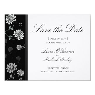 """Black and White Floral Save the Date Cards 4.25"""" X 5.5"""" Invitation Card"""