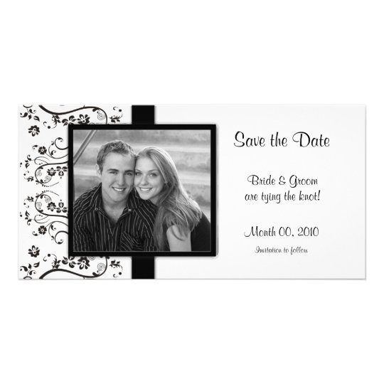 Black and White Floral Save the Date Photo