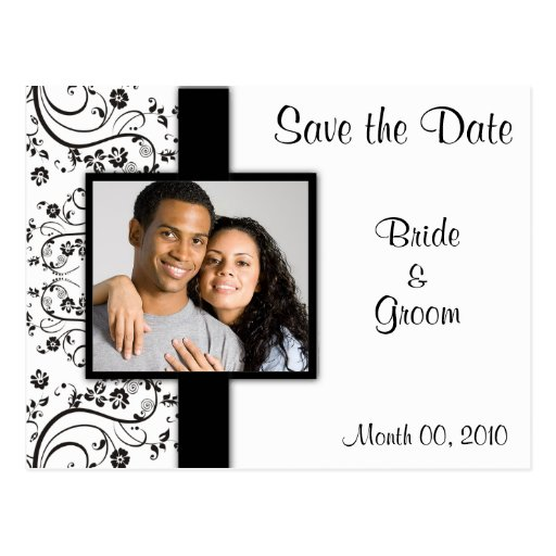 Black and White Floral Save the Date Postcards