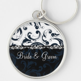Black and White Floral Silver-Colored Round Key Ring