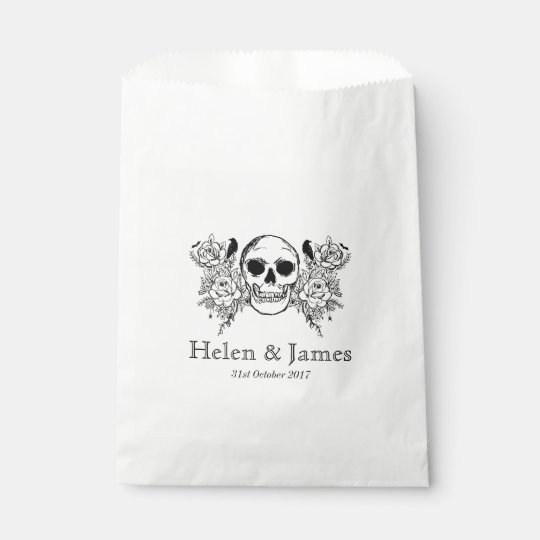 Black and white floral skull treat bag favour