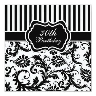 Black and White Floral Stripe 30th Birthday Invite