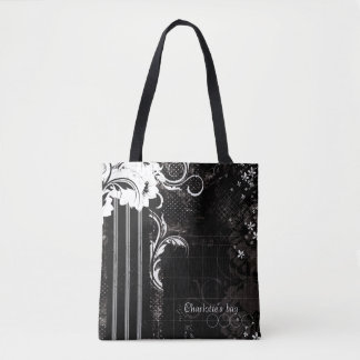 Black and White Floral Stripes Tote Bag