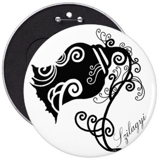 Black And White Floral Swirls 6 Cm Round Badge