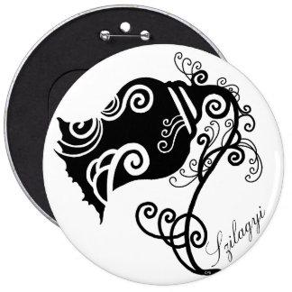 Black And White Floral Swirls 6 Cm Round Badge