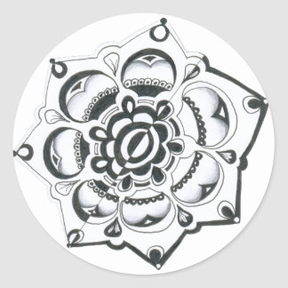 Black and White Floral Symmetry Round Sticker