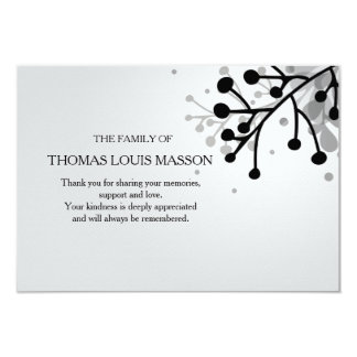 Black and White Floral Sympathy Thank You Card 9 Cm X 13 Cm Invitation Card