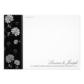 Black and White Floral Thank You Cards Custom Announcement