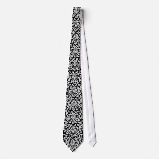 Black and White Floral Tie