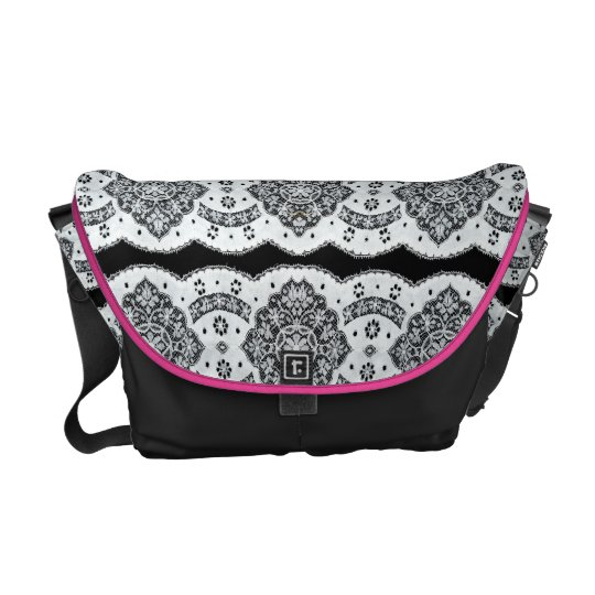 Black And White Floral Vintage Lace Courier Bags