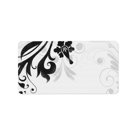 Black and White Floral Wedding Blank Address Label