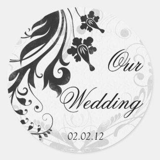 Black and White Floral Wedding Envelope Seal Round Sticker