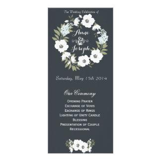 Black and White floral wedding program 10 Cm X 23 Cm Rack Card