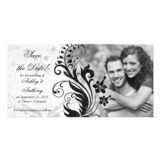 Black and White Floral Wedding Save the Date Personalised Photo Card