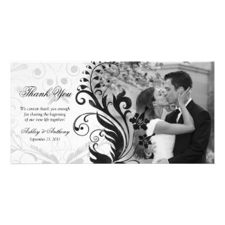 Black and White Floral Wedding Thank You Photocard Card