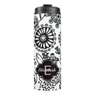 Black and White Floral With Pink Monogram Thermal Tumbler