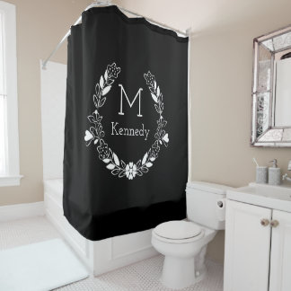 Black And White Floral Wreath Name Monogram Shower Curtain