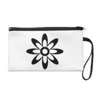Black And White Floral Wrist Bag