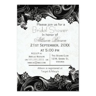 black and white florals spring Bridal shower 13 Cm X 18 Cm Invitation Card