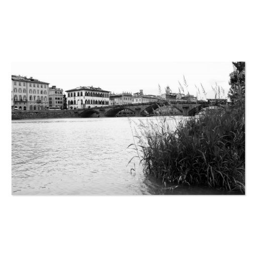 Black and White Florence River Arno Business Card Template