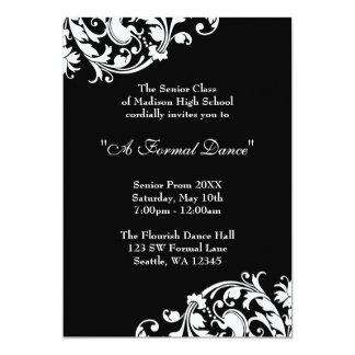 Black and White Flourish Prom Formal Invitations