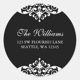 Black and White Flourish Scroll Address Label Round Sticker