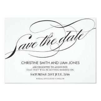 Black and White Flourish Swirl Save The Date 13 Cm X 18 Cm Invitation Card