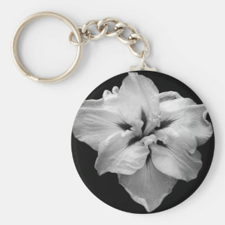 Black and White Flower Basic Round Button Key Ring