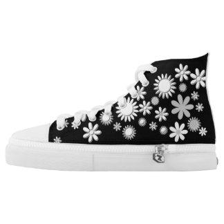 Black and White Flower Design High Tops