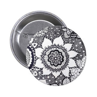 Black and White Flower Mandala Button