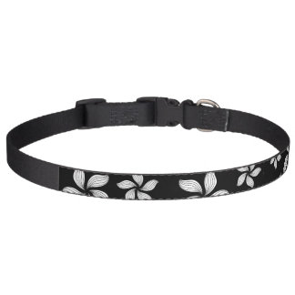 Black and White Flower Pattern on Dog Collar