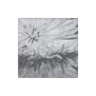 Black and White Flower Photo Stone Magnet
