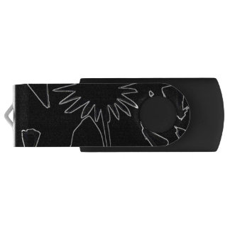 Black And White Flower USB Flash Drive