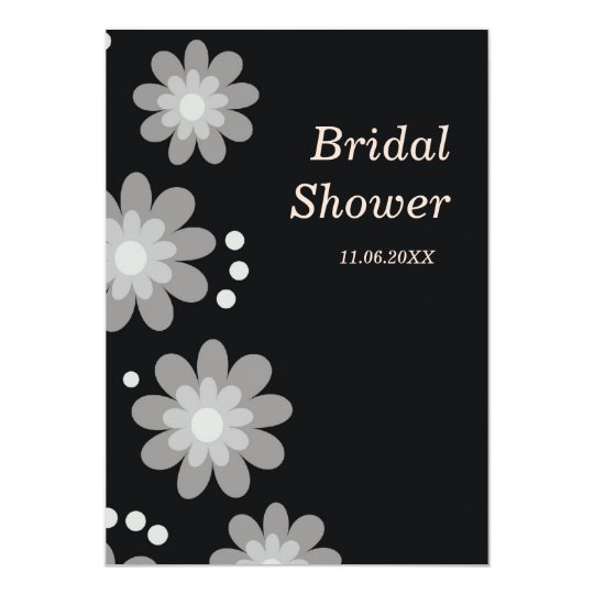 Black And White Flowers Bridal Shower Invitations