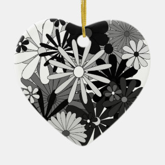 Black and White Flowers Christmas Ornament