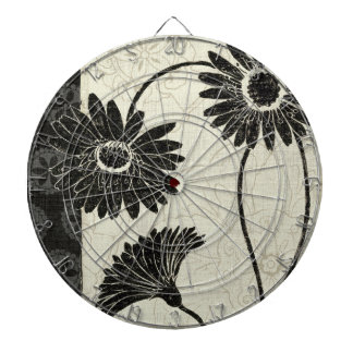 Black and White Flowers Dartboard